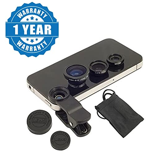 Drumstone Universal 3 In 1 Cell Phone Camera Lens Kit with Fish Eye-Lens for All Smartphones