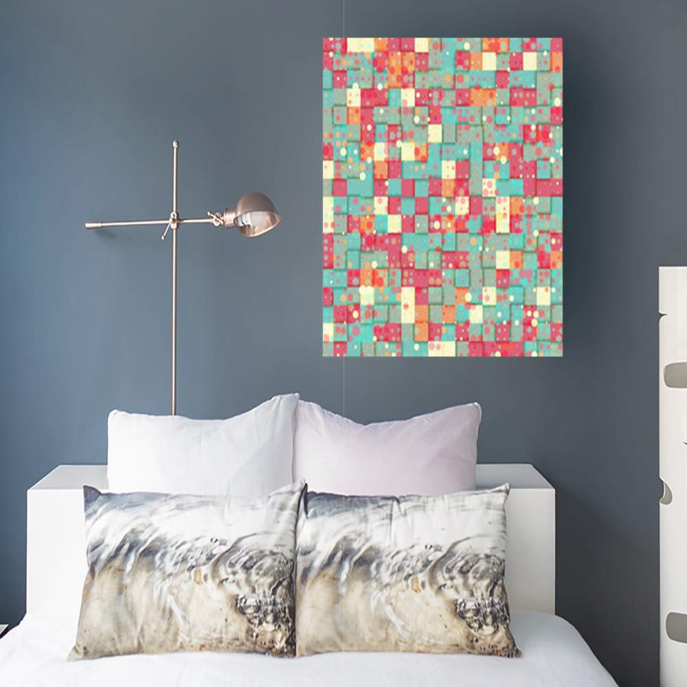 Canvas Print Wall Art Geometric Bright Squares Textures Holidays Wallpaper Pattern Stretched Wooden Frame Artwork Painting 8 x 10 Home Decor Bedroom Living Room Office
