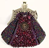 Vintage Style Fully Beaded Handmade Evening Handbag / Purse W/Shoulder Chain Purple, Bags Central
