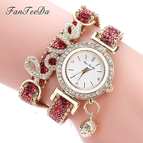 Fashion Luxury Women Wristwatch Watches Love Word Leather Strap Ladies Bracelet Watch Casual Quartz Watch - Kors Rose Gold Face Michael Blue