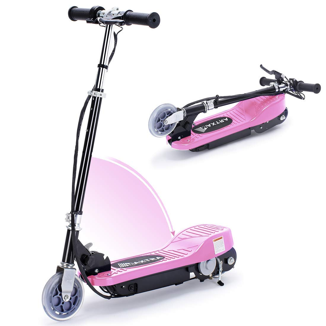 Overwhelming Upgrade E100 Adjustable Handlebar Height Folding Electric Scooter for Kids, 160LBS Max Weight Capacity Motorized Scooters, up to 10mph - Pink by Overwhelming