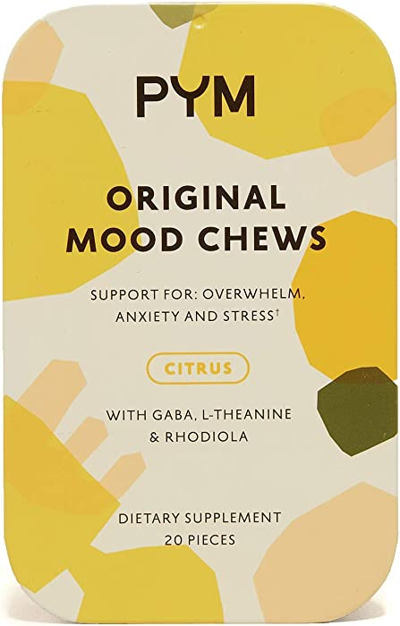 PYM Health Mood Chews, All Natural, Non-GMO, Gluten Free Chewable Supplement Provides Calm & Relief for Anxiety, Stress and Overwhelm, 20 Gummies per Container