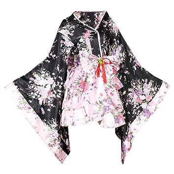 tzm2016 Japanese Cherry Blossoms Pattern Kimono Anime Cosplay Lolita Halloween Fancy Dress Costume XXXL