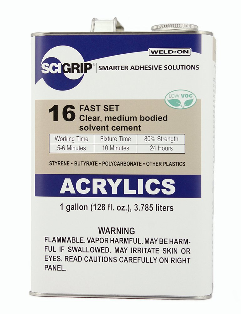 SCIGRIP 10313 16 Acrylic Plastic Cement, Low-VOC, Medium Bodied and Fast-Setting, Clear, 1 Gallon (128 fl oz)