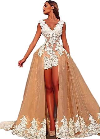 Amazon Com Xia Wedding Dresses With Detachable Train V Neck White Applique Mini Hi Lo Short Bridal Gowns Clothing,Cowboy Boots And Wedding Dress