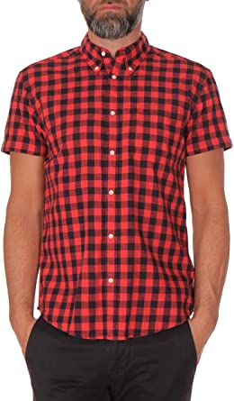Wrangler S/S - Camisa para hombre, 1 capa, color rojo: Amazon.es: Ropa y accesorios