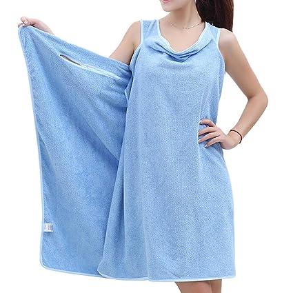 Zohong Mujer Toallas de baño Vestir Playa Envolver Falda Microfibra Absorbente Vestido de baño Azul