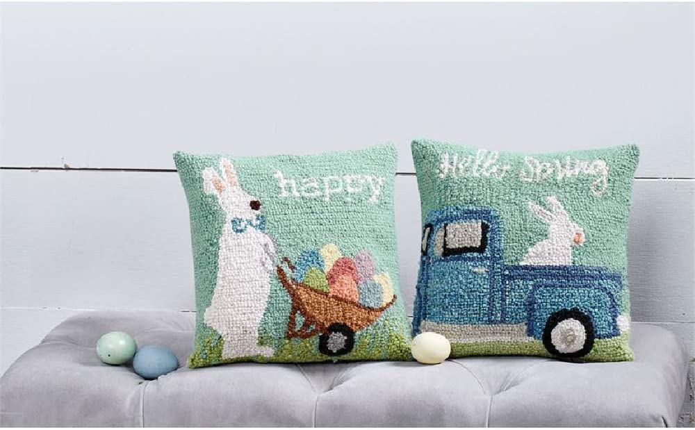 Mud Pie Happy Bunny Hooked Wool Pillow 12 X 12 Blue Home Kitchen Amazon Com