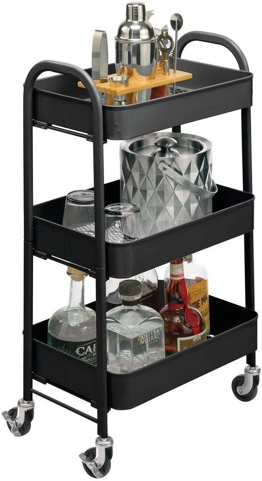 mDesign Metal 3-Tier Rolling Household Storage Cart to use in Bathrooms, Kitchen, Craft Rooms, Laundry Rooms, and Kid's Rooms - Portable, Includes 4 Caster Wheels - Matte Black