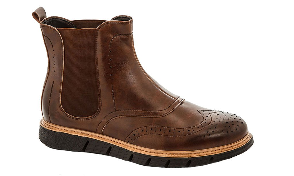 Adolfo Men's Haan Wing Tip Brogue Vegan Leather Ankle Boots Brown Size 10
