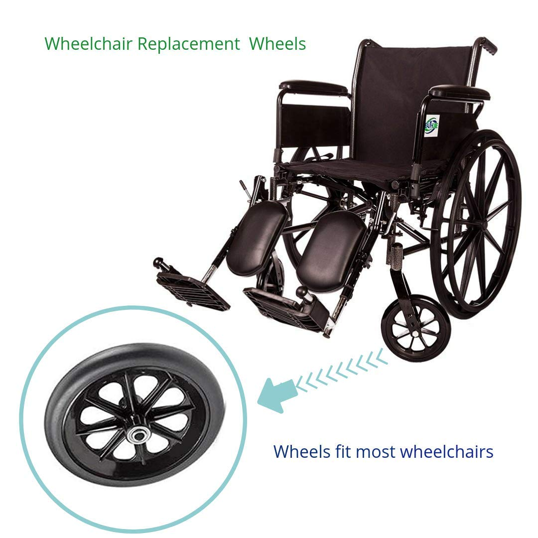 Wheel Replacement For Wheelchairs, 8 inch by 1 inch Black (2) by Health Line Products