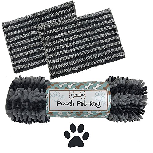 Dog Cat Pet Absorbent Microfiber Chenille Rug (24''x17'', Charcoal/Grey) by Pooch Pen (Image #2)'