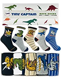 Boys Dinosaur Socks - Ages 4-6 and 7-10 Year Old Crew Socks Age 4 Kids Gift Set, Soft, Comfy and Stylish - Tiny Captain