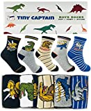 Tiny Captain Boy Dinosaur Socks 4-7 Year Old Boys Crew Cotton Sock Perfect Age 5 Gift Set (Medium, Green)