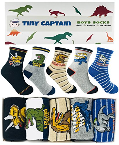 Image of the Tiny Captain Boy Dinosaur Socks 4-7 Year Old Boys Crew Cotton Sock Perfect Age 5 Gift Set (Medium, Green)