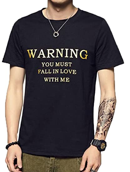 2a6b488788df Generic Mens T-Shirts Short Sleeve Letter Print Crew Neck Summer Casual Cotton  Tees Black