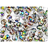 50pcs Fire-Polished Beads - Czech Faceted Glass Beads, Round 6mm Crystal Vitrail