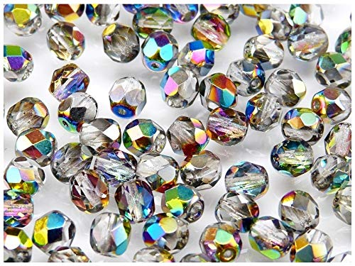 300 pcs Czech Faceted Round Firepolished 6mm Crystal Vitrail Glass Beads 1/4 Mass Fire Polished