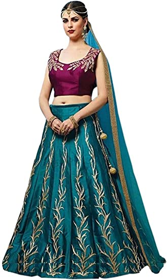 19874b9c4 SalwarFab Women's Taffeta Silk Designer Wedding Wear Lehenga Choli:  Amazon.in: Clothing & Accessories