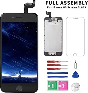 for iPhone 6s Screen Replacement Black, Diykitpl LCD Display 3D Touch Screen Digitizer Replacement 6S ScreenFull AssemblyforModelA1633,A1688,A1700with Home Button+Earpiece+Front CameraRepair Set