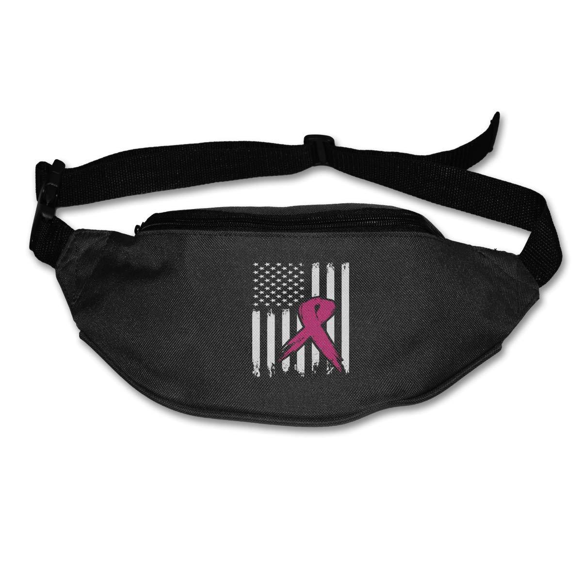 Breast Cancer Flag Sport Waist Pack Fanny Pack Adjustable For Hike