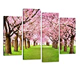 Kreative Arts - 4 Pieces Large Cherry Blossom Trees Photo Canvas Wall Art Spring Pink Forest Picture Framed Artwork Wall Decoration Ready to Hang