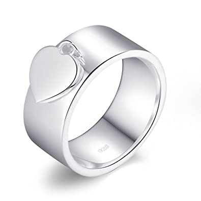 Classic 925 Sterling Silver Round and Heart Charm Rings for Girlfriend  Mother MetJakt Friend Perfect Gift ef9ed86368