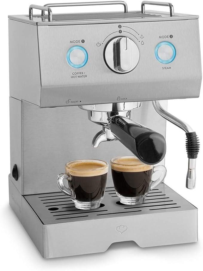 Cafetera Expreso de Acero Emilia 1140 W, 15 Bares, 1,5 L con filtro, Máquina para café con función de espumador para leche y támper + Gratis Espresso-Guide (PDF ...