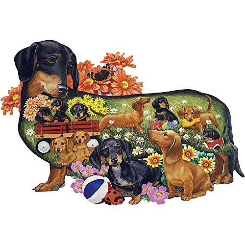 Bits and Pieces - 300 Piece Shaped Puzzle - Delightful Dachshunds, Dachshunds Dog Puppies - by Artist Jack Williams - 300 pc Jigsaw