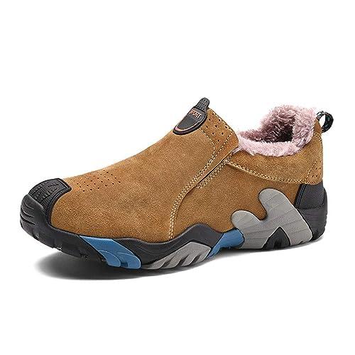Hombres Botas Zapatos De Invierno De Cuero Low Top Felpa Mocasines Calientes Moda Slip On Mocassins: Amazon.es: Zapatos y complementos