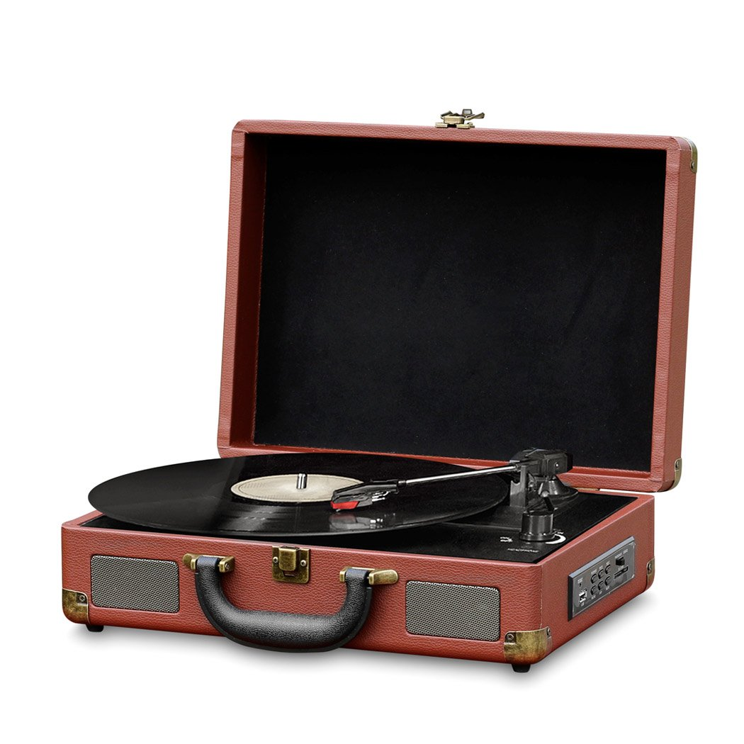 Record Player Turntable  Old Fashioned Bluetooth  Vinyl-to-MP3 Recording, MP3/USB/SD Readers, Briefcase-Style With Built In Speaker By Pyle -Brown (PVTTBT9BR)