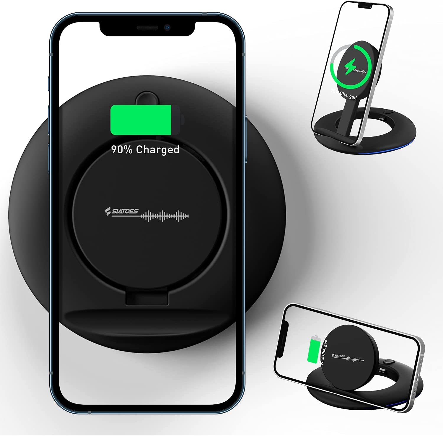 Wireless Charger,Qi-Certified 10W Max Charging Station,Adjustable Fast Wireless Charging Pad Compatible with iPhone 12/12 Mini/12 Pro Max/SE/11 Pro/11 Pro Max/AirPods/Note 10,Galaxy S20(No AC Adapter)