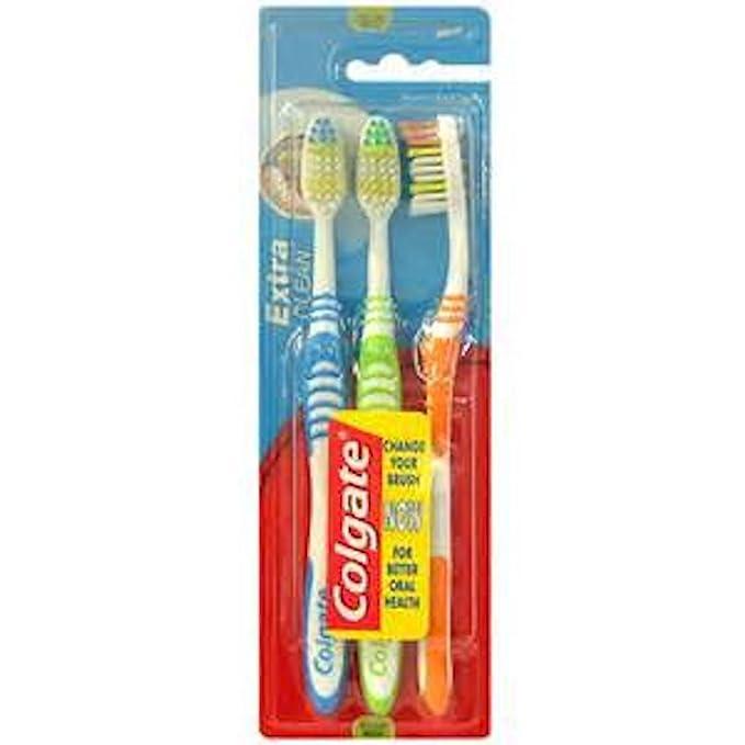 Colgate Extra Clean - Paquete de 3 cepillos de dientes de dureza media: Amazon.es: Salud y cuidado personal