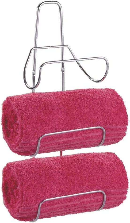 mDesign Wall Mounted Towel Rack For Rolled Towels Chrome