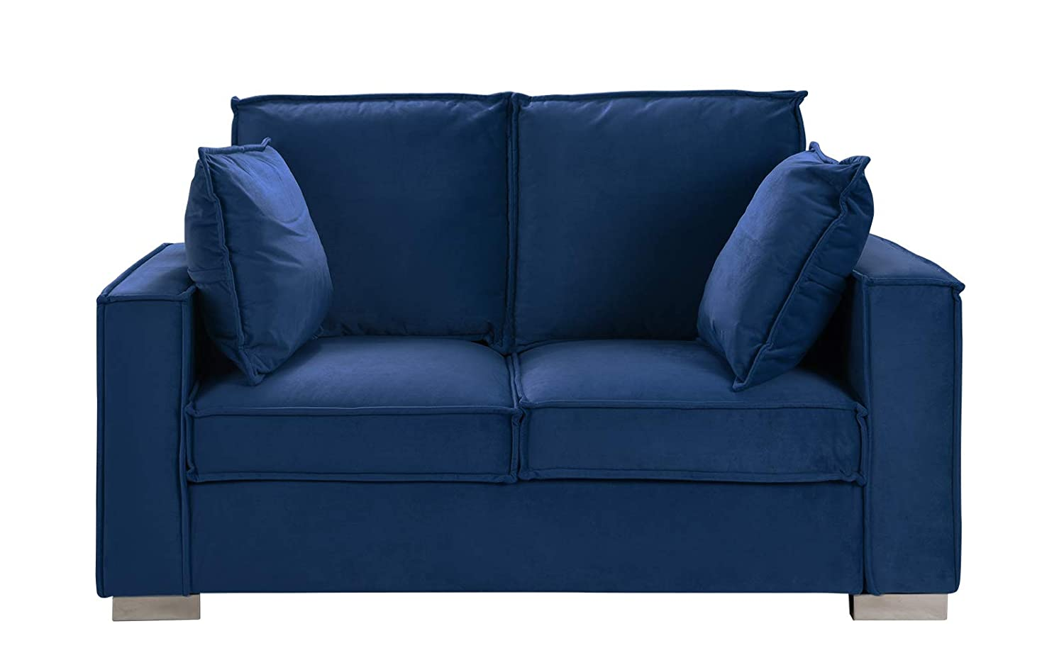 Pleasant Classic Brush Microfiber Sofa Small Space Loveseat Couch Navy Blue Onthecornerstone Fun Painted Chair Ideas Images Onthecornerstoneorg