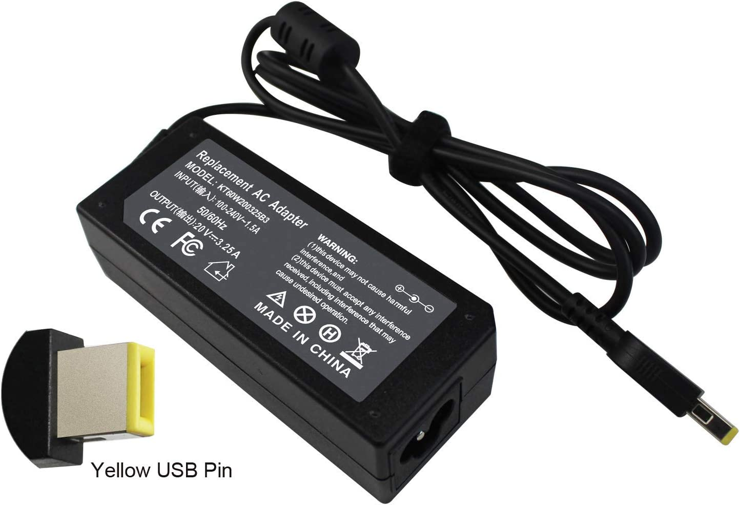 65W Slim Tip Laptop Charger AC Adapter for Lenovo ThinkPad X1 Carbon Touch Ultrabook, Yoga 2 13 11S Pro,T440 T450 T450s T460 T570 L450 E470, Flex 2 3 14 15 ADLX65NLC2A ADLX65NLC3A -12 Months Warranty
