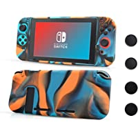 Nintendo Switch Silicone Skin Comfort Grip Case Anti-Slip Full Body Protective Case Cover for Switch Console & Joy-con [4 Thumb Stick Caps][Handles for Gaming], (Multicolored)