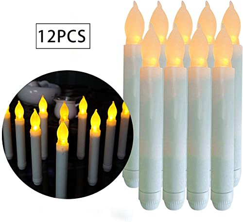 Advocator 12 PCS Dripless Battery Operated LED Flameless Taper Candles with Yellow Mini Flickering Taper Fake Candles for Christmas Decorative Church Wedding Window Holiday Wall Sconce