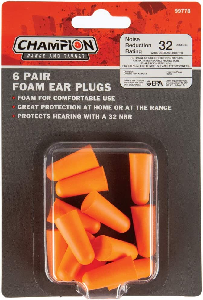 Champion Range and Target Hearing Protection Foam Plug 6 Pairs, Orange, One Size