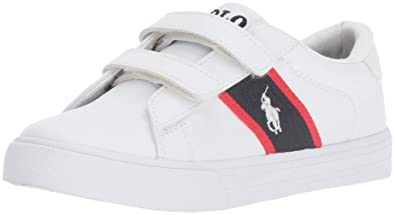 83b22db67c75d Image Unavailable. Image not available for. Color: Polo Ralph Lauren Kids  Geoff EZ Sneaker Tumbled/Navy/red ...