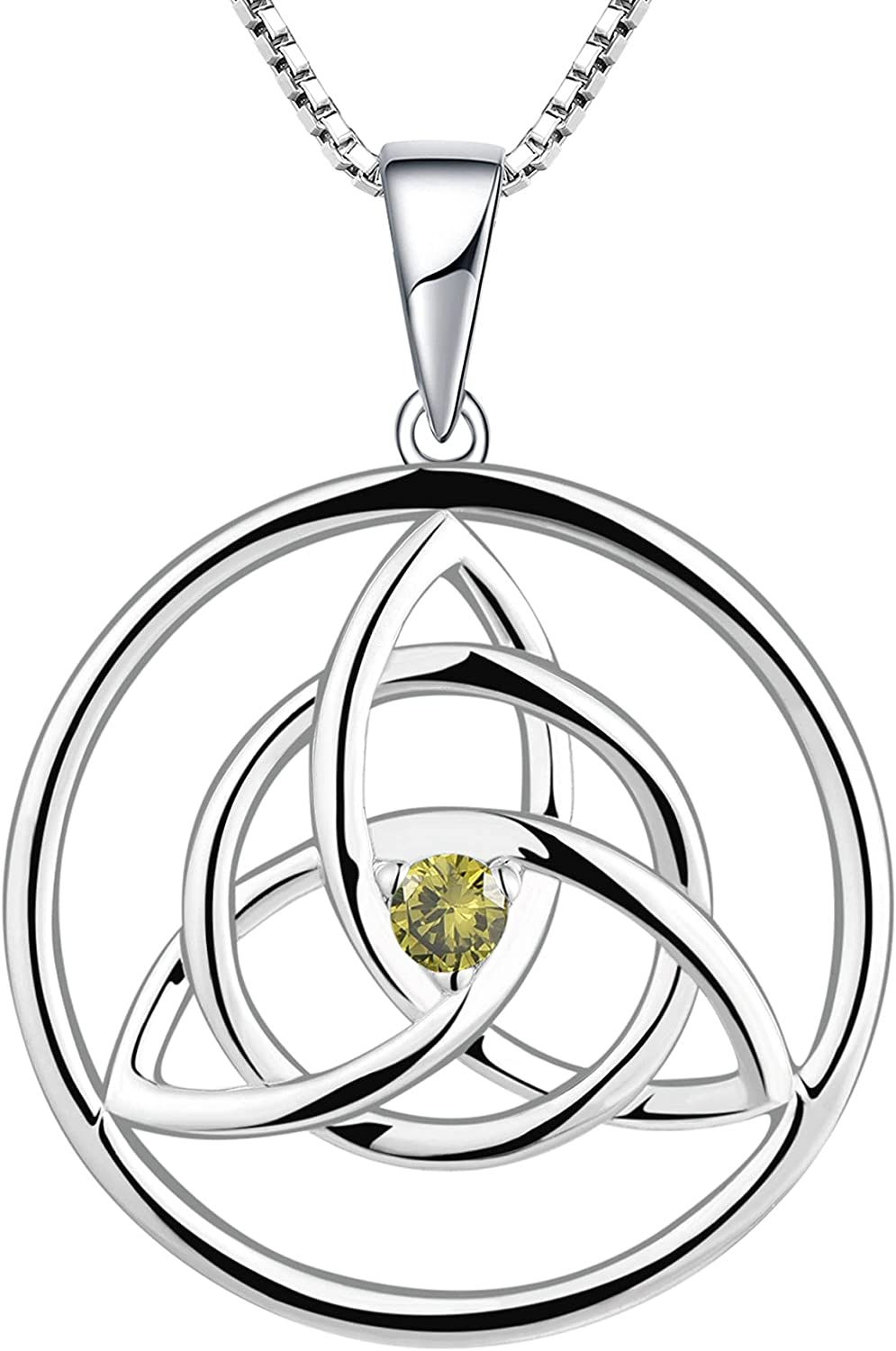YL Celtic Knot Necklace 925 Created discount Aquamarine R Sterling favorite Silver