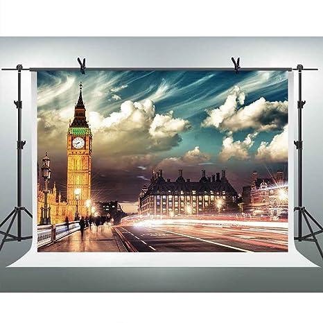 FHZON 10x7ft London Night Street Scene Photography Backdrop Elizabeth Tower Clock Tower Big Ben Background Themed