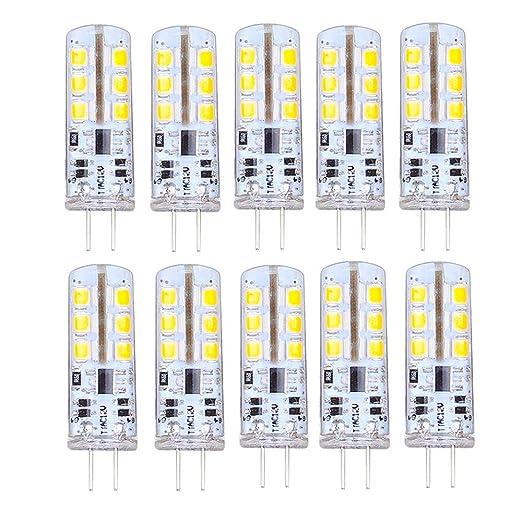 Paquete de 10 - Bombillas LED DC 12V G4 3W 24 x 2835 SMD 140LM Lámpara