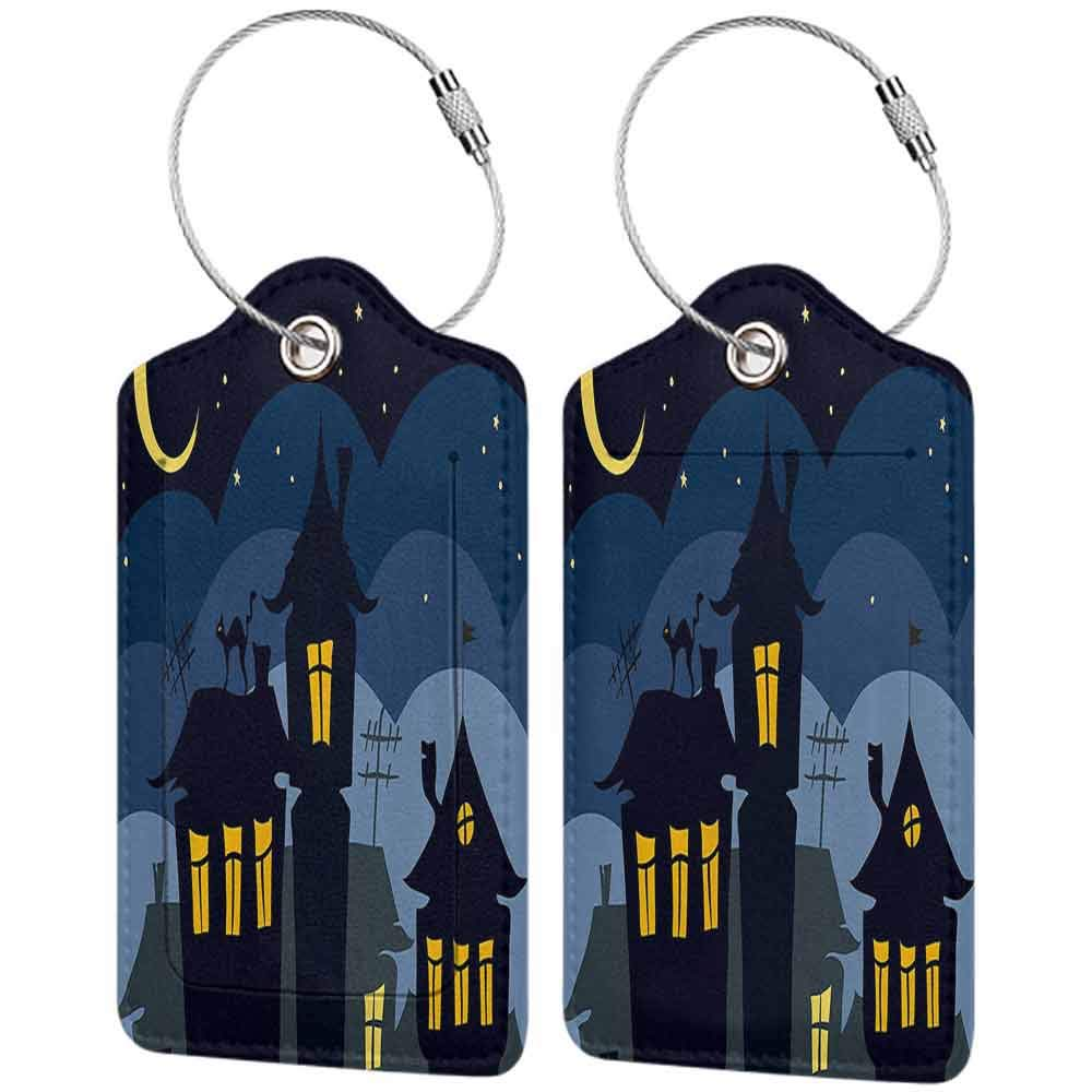 Multi-patterned luggage tag Halloween Old Town with Cat on the Roof Night Sky Moon and Stars Houses Cartoon Art Double-sided printing Black Yellow Blue W2.7 x L4.6