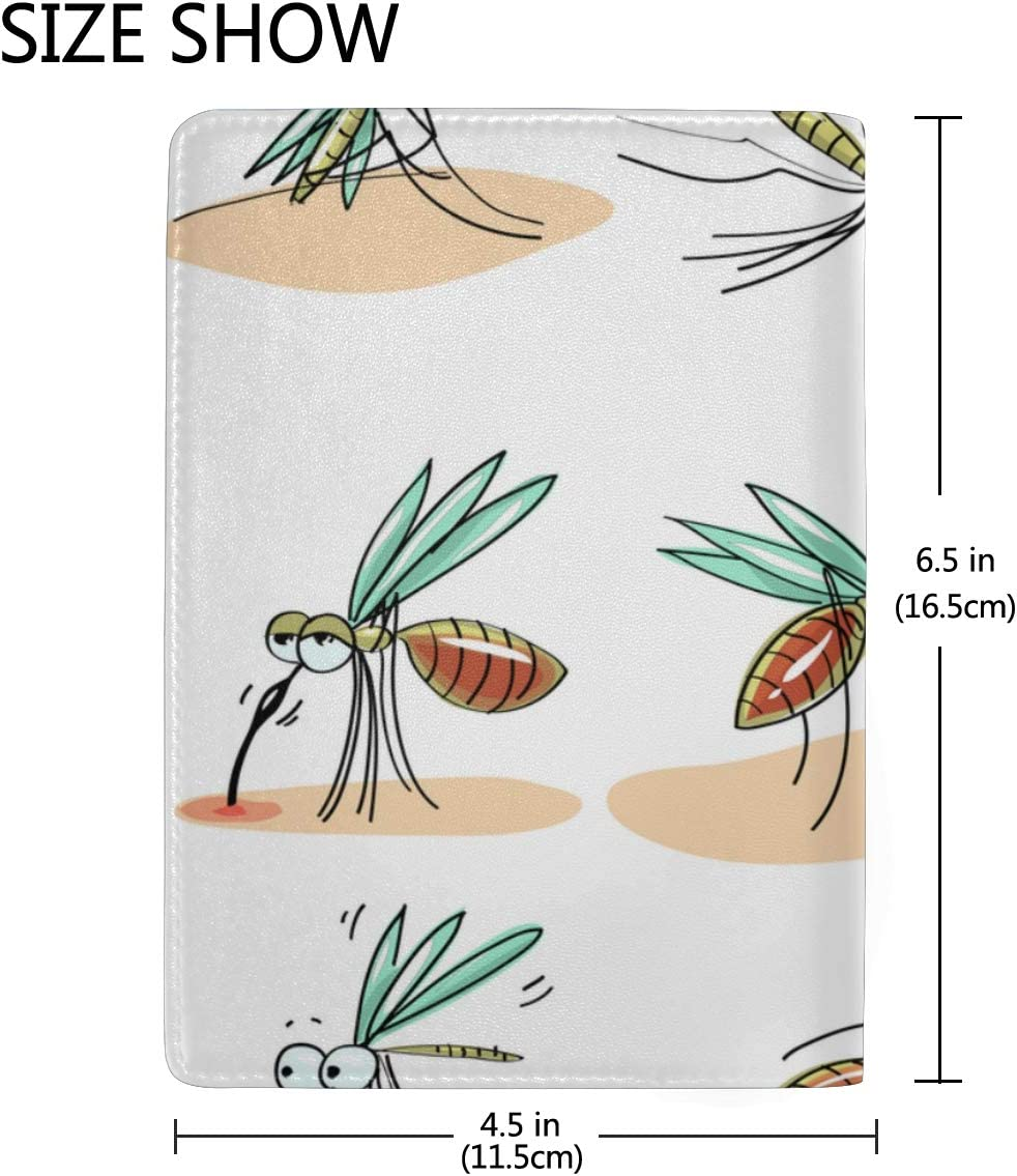 Disturbing Mosquito Animation Blocking Print Passport Holder Cover Case Travel Luggage Passport Wallet Card Holder Made With Leather For Men Women Kids Family