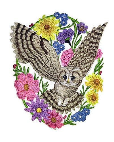 Nature weaved in threads, Amazing Birds [Woodland Whimsy Owl Oval [Custom and Unique] Embroidered Iron on/Sew patch [7.12