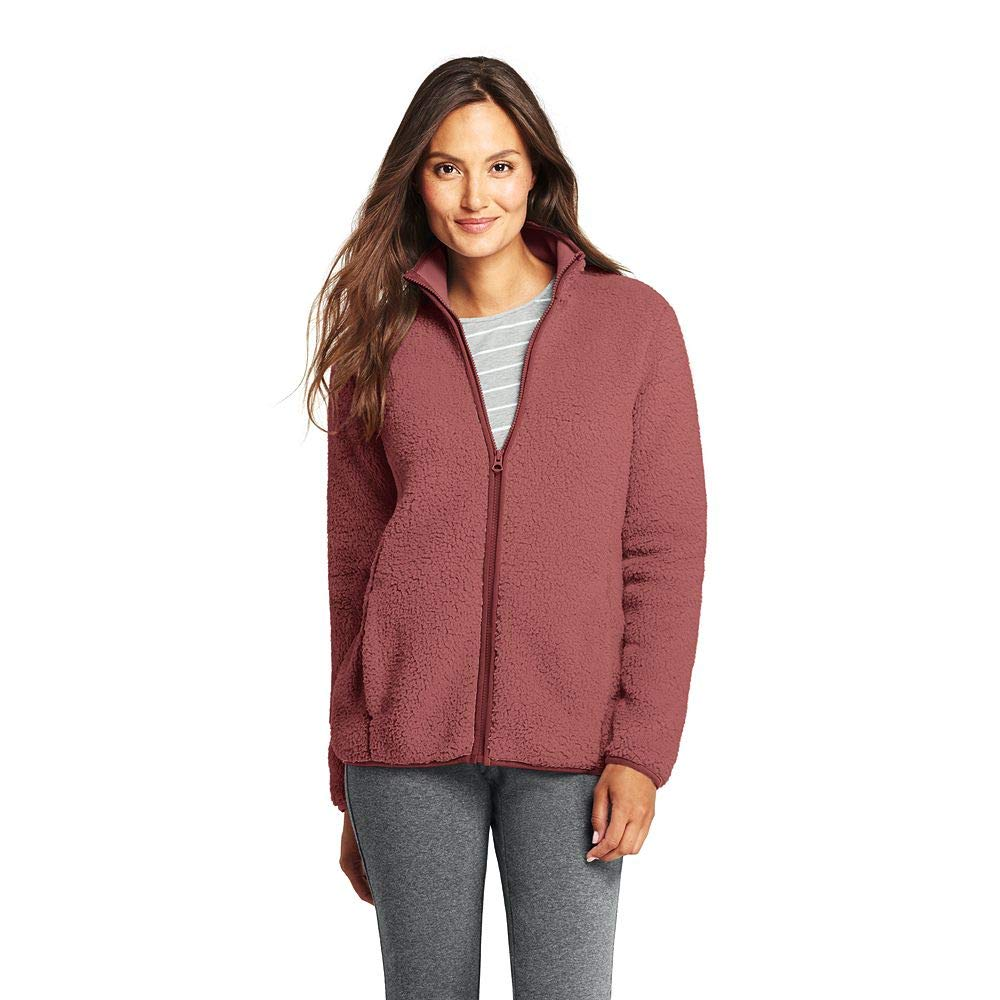 Dark pink Clay Lands' End Women's Cozy Sherpa Fleece Jacket