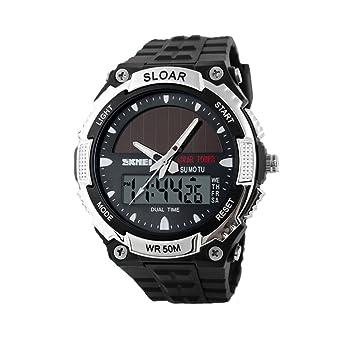 Skmei 1049 Exteriores Hombre Deporte Relojes Dual Time Display Reloj Solar 50 m resistente al agua, color plata: Amazon.es: Deportes y aire libre