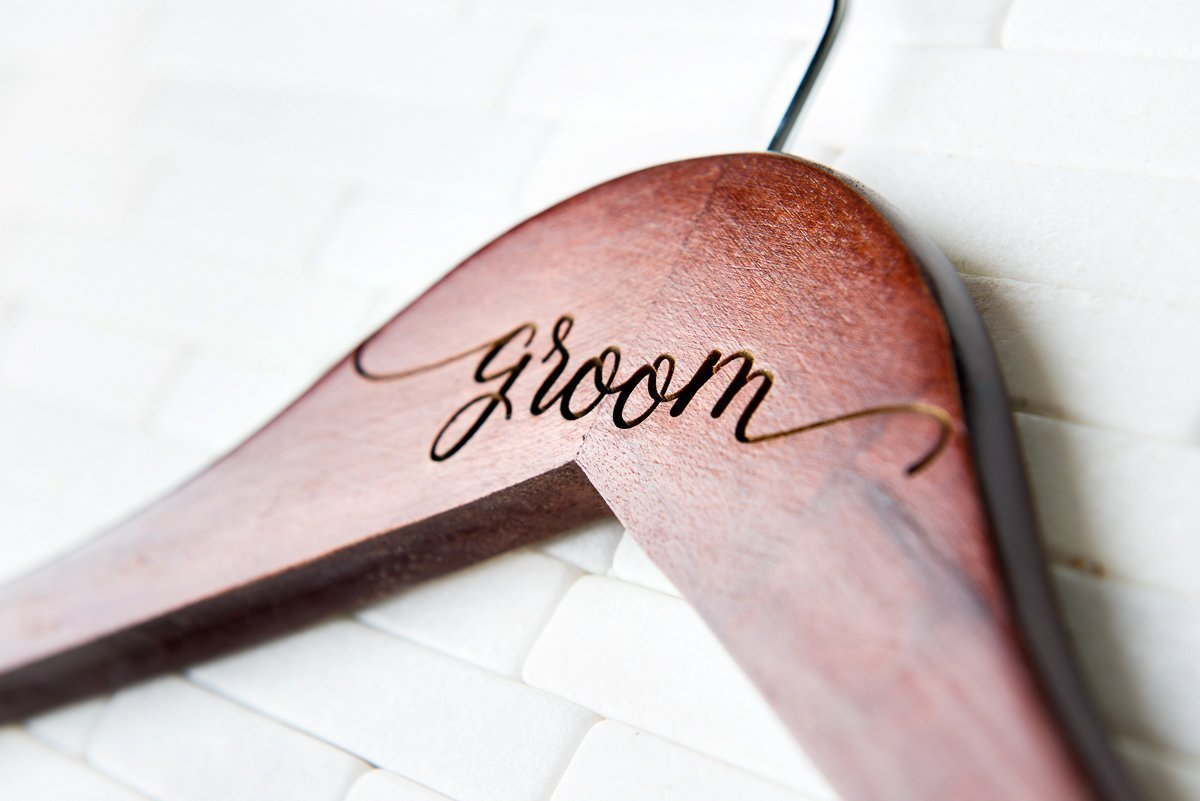 Wedding Dress Hangers Personalized Calligraphy Bride Bridesmaid Gift for the Couple Her Matron Maid of Honor Engraved Wood Quick Ship
