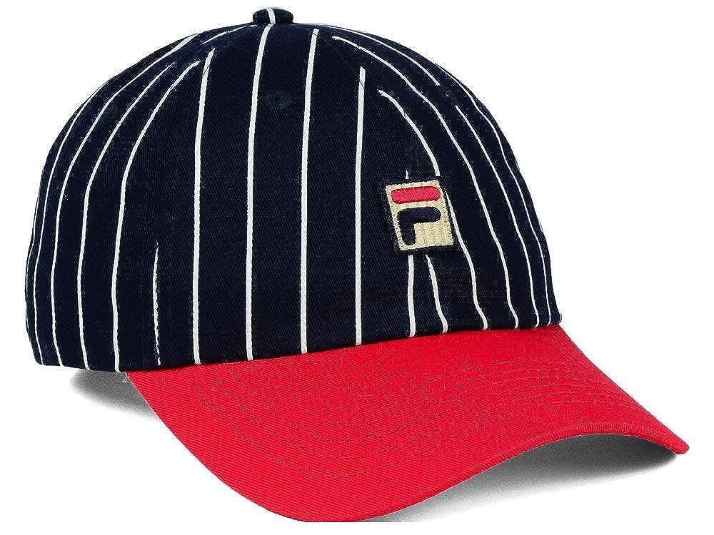 e1669468a15 Fila Heritage Two Tone Striped Unisex Slouch Adjustable Baseball Hat (Navy Red)   Amazon.co.uk  Clothing
